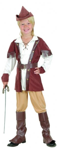 Boys Medieval Robin Hood Boy Deluxe Costume Middle Dark Ages Fancy Dress Outfit